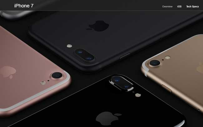 All iphone 7 color variations placed next to each other
