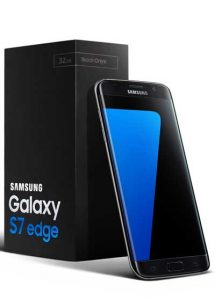 black packaging of samsung galaxy s7 edge with the phone besides it