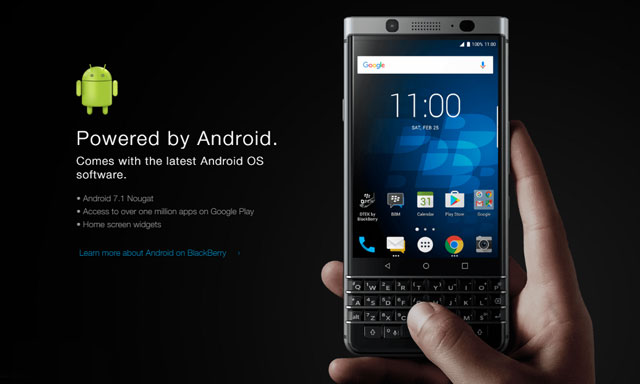 The BlackBerry  Keyone Runs Android 7.1 Operating System