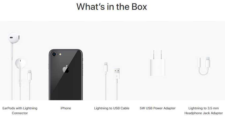 Apple iPhone 8 whats in the box after buying