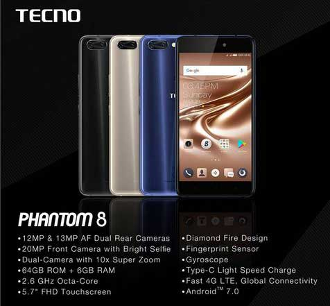 Specifications and Features of the Tecno Phantom 8 mobile phone